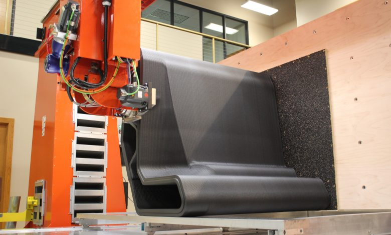 A composite part being vertically printed. Photo via Thermwood.