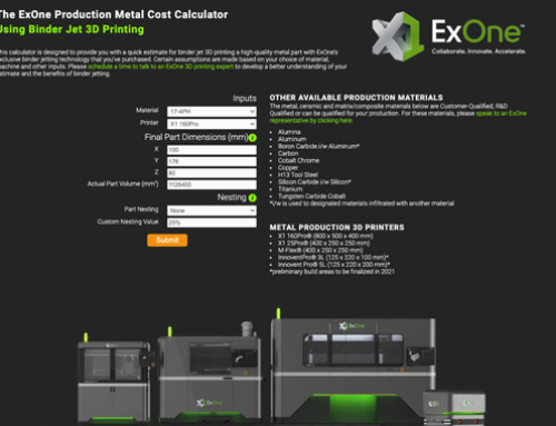 ExOne launches online calculator for metal 3D printing cost estimation